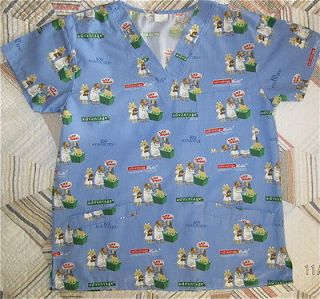 k9 advantage vet blue dog print scrub top size s