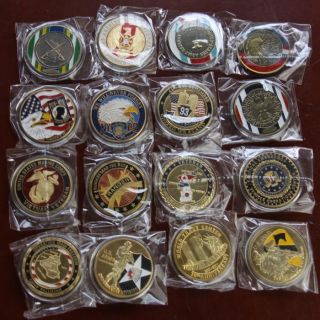 newly listed lot of 16 different military challenge coins s541