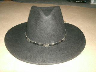 NEW * HARLEY DAVIDSON mens LEISURE FELT HAT WESTERN COWBOY sz M MEDIUM