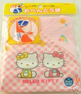 sanrio hello kitty pink checkered bento wrap
