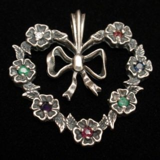 Heart & Bow Pendant Vintage Sterling Silver Franklin Mint 1982