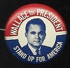 1968 1 INCH WALLACE FOR PRESIDENT   GEORGE WALLACE PICTURE PINBACK