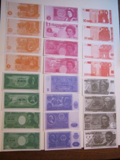 Supplies Gifts Foreign Currency Small Dollar Bills Set New Play Money