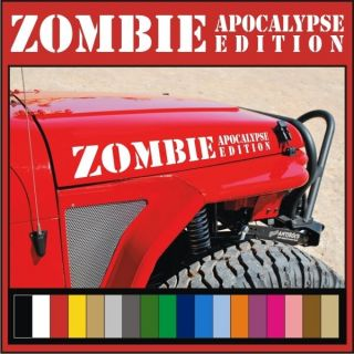 ZOMBIE APOCALYPSE EDITION Vinyl Hood Decals / Stickers Jeep Wrangler