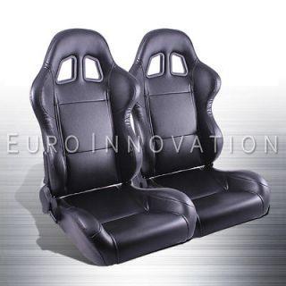 Stitch Turino Sport Racing Bucket Seat Left Right Pair +Sliders New