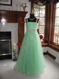 Sherri HIll CH2714 Light Green Girls Pageant Gala Gown Dress 12