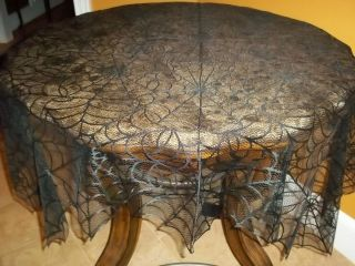BLACK HALLOWEEN TABLECLOTH SPIDER WEB LACE 60 X 60 SQUARE TBTCH261