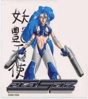 plastik japanese anime girl 2 guns sticker decal car from