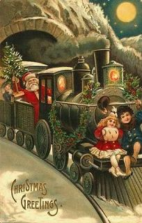 Vintage Christmas Fabric Block Santa Polar Express Postcard printed