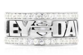 HARLEY DAVIDSON® WOMENS STERLING SILVER WHITE STACKING RING HDR0294