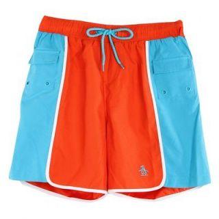 original penguin mens orange block colour panel swim shorts more