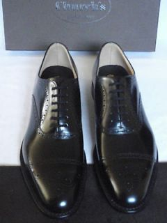 NEW Churchs London Black Polished Leather Cap Toe Brogue Shoes UK 8.5