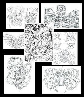 Skeletons, Skulls & Reapers Tattoo Flash Liner Art Sketch Book FREE