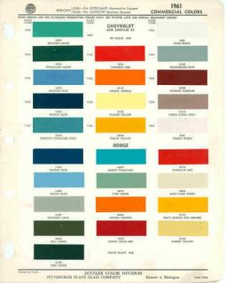 1961 chevrolet dodg e truck paint color chart ppg 61  9 99