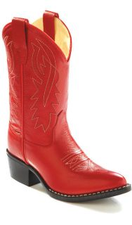 Old West NEW Youth Boys Girls 8116 RED Leather Cowboy Western Boots