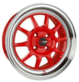 17 4x100 dr16 red wheel rims nissan sentra 200sx maxima