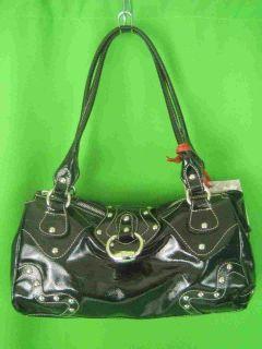 cavalcanti italy black patent leather new satchel