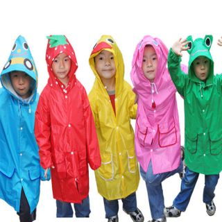 Kid Children Cartoon Hooded Raincoat Rain coat Waterproof Rainwear New
