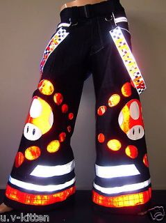 Red Mushroom Phat pants rave reflective Uv neon dance raver club wear