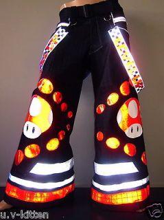 Red Mushroom Phat pants rave reflective Uv neon dance raver club wear