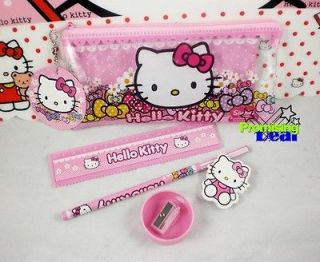 hello kitty 5in1 set pencil case ruler rubber sharpener from