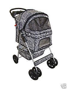 New Classic Fashion BestPet 4 Wheel Zebra Pet Dog Cat Stroller