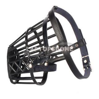 Dog Leather Basket Cage Adjustable Pet Dog Muzzle Black Size 4