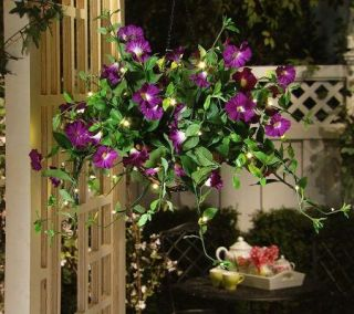 Lights Solutions Battery Operated Petunia Hanging Basket w/Timer