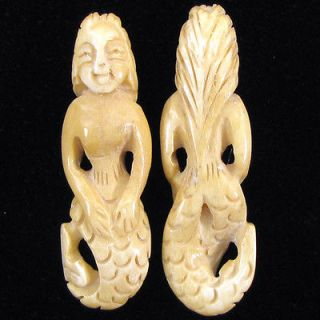 58mm ox bone carved mermaid pendant bead one day shipping