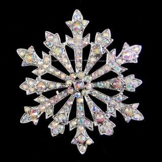 Christmas Snowflake Brooch Pin Clear AB Rhinestone Crystal Pendant