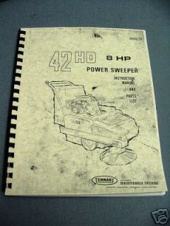 tennant 42hd power sweeper instruction parts manual time left $