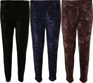 Crushed Velour Velvet Look Leggings Womens Full Length Trousers 12 26