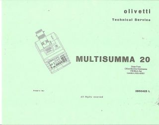 OLIVETTI MULTISUMMA 20 ELECTRIC ADDING MACHINE SERVICE MANUAL