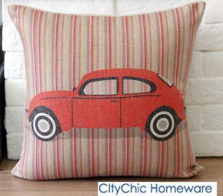 45cm x 45cm TBQC Vintage Retro Red Beatle Car Linen Cushion Cover