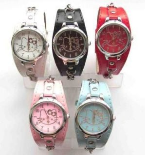 Lot of 5 pcs Boy & Girl Hello Kitty necklace Leather wrist watch clock