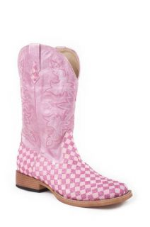 Roper Ladies PINK Silver Diamond Glitter Square Toe Cowboy Boots 5 6 7