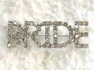 CLEAR RHINESTONE CRYSTAL BRIDE PIN BROOCH 4 WEDDING PARTY C89