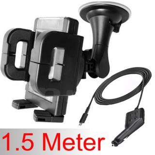 5M METER LONG MICRO USB IN CAR CHARGER & WINDSHIELD PHONE HOLDER