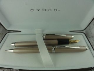 champagne meteorite fountain pen and pencil expedited shipping