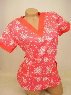 New Women Nursing Scrub Coral Red White Floral Cotton Top Size S