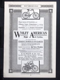 1896 WOLFF AMERICAN High Art Cycles magazine Ad Bicycle 2 person