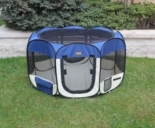 Small Navy Blue Pet Dog Cat Tent Playpen Exercise Play Pen Soft Crate