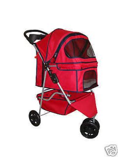 New Classic Fashion Red 3 Wheels Pet Dog Cat Stroller w/RainCover