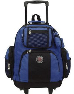 18 Blue Rolling Bag Backpack Bookbag Travel Trolley Carry On