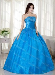 New Cheap Blue Wedding Prom Gown Quinceanera Dress Stock Size 6 8 10