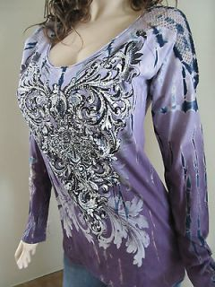 Vocal Tie Dye Scrolls Crystals Tattoo Top Shirt Western Bling Sexy S M