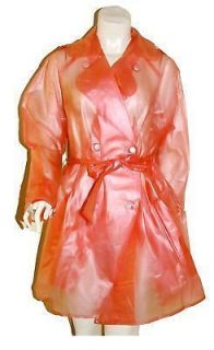 Clear Red PVC Raincoat Mac Plastic Trench Coat Rain M Vinyl Rainwear