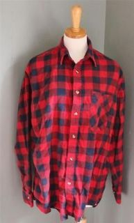 Vtg 80s JD Michael buffalo plaid Flannel Shirt Men M red Blue grunge