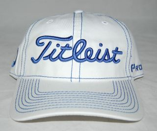 TITLEIST CONTRAST STITCH ADJUSTABLE GOLF HAT   WHITE/BLUE   TH2ATCS 1