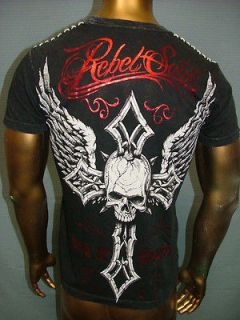 REBEL SAINTS by AFFLICTION Live Fast STAPLE Cross Wings FIGHT UFC T